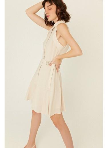 Rue Volan Detaylı Kemerli Keten Elbise Bej